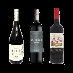 Kidia Pinot Noir Reserva, Wildwood Merlot, Castillo Monseran Garnacha